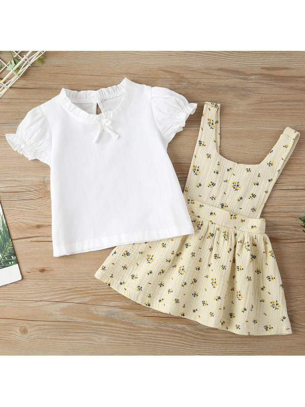 【6M-2.5Y】Cute White T-shirt and Floral Print Skirt Set