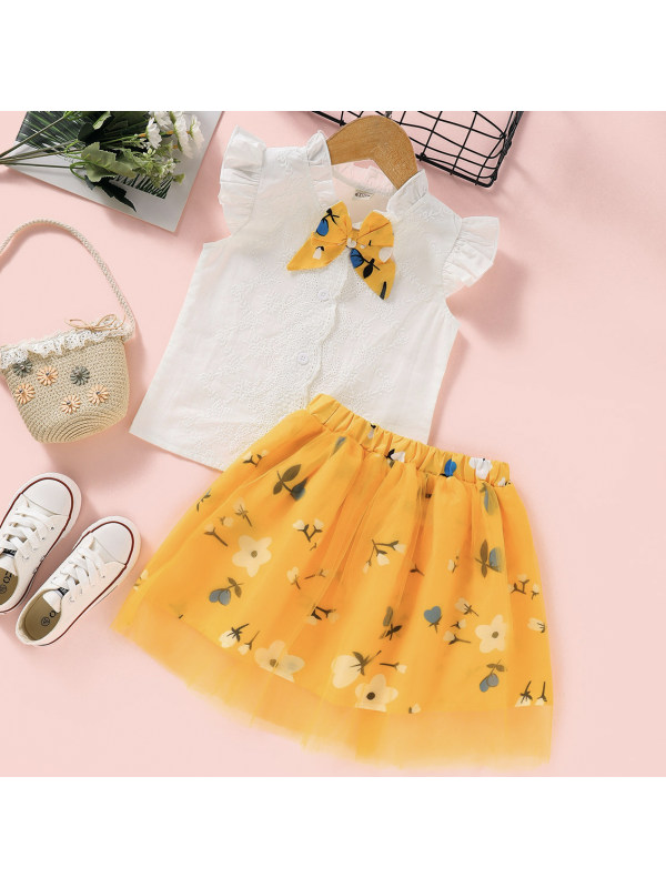 【18M-7Y】Sweet Embroidered White Shirt and Yellow Flower Skirt Set