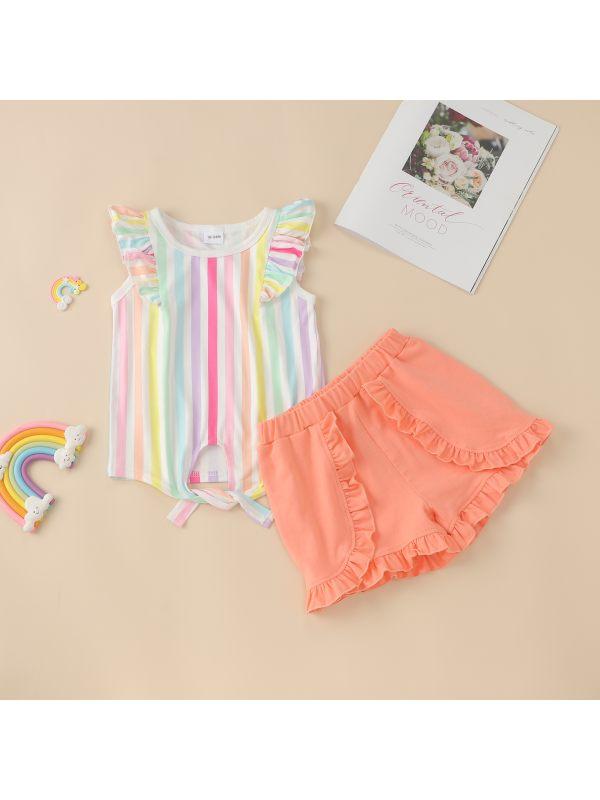 【12M-5Y】Girls Summer Flying Sleeve Shorts Rainbow Striped Two-Piece Set