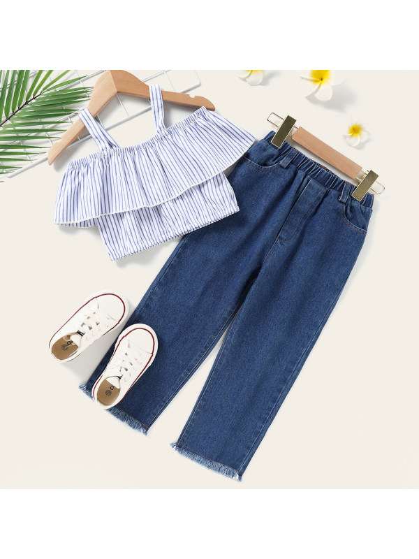 【18M-7Y】Sweet Blue Striped Sling Top and Jeans Set