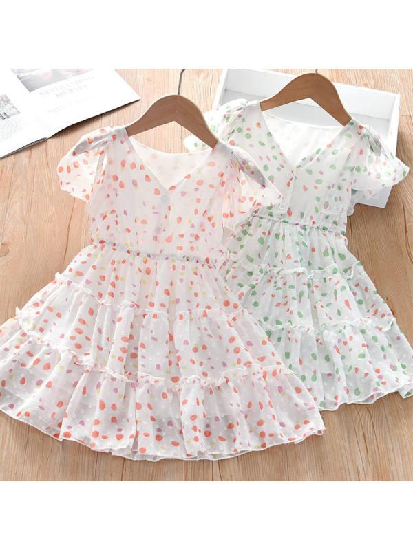【2Y-9Y】Girls Sweet Polka Dot Print V-neck Lace Sleeve Dress