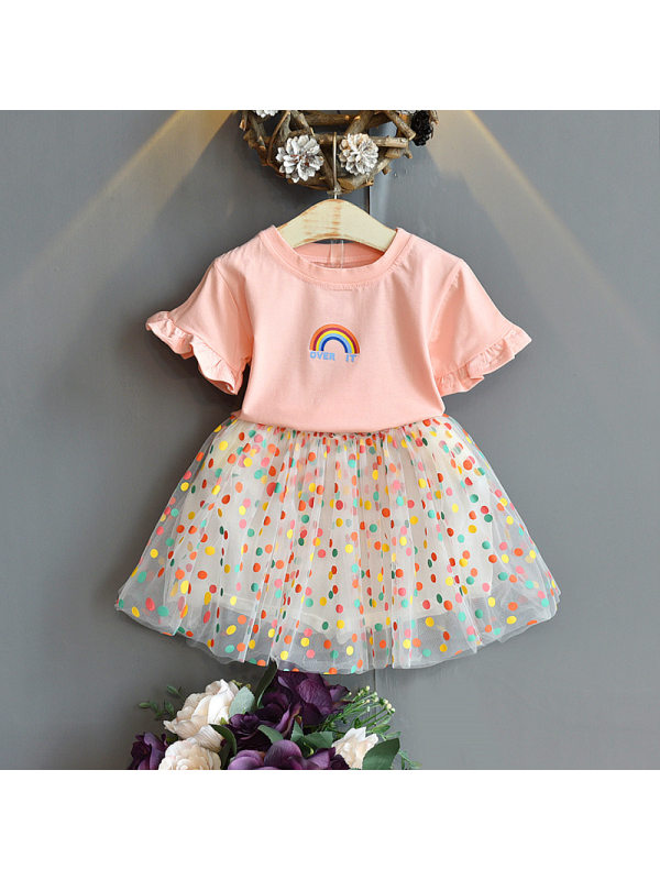 【18M-7Y】Girls Print Round Neck Short-Sleeved Top with Color Polka Dot Skirt Suit