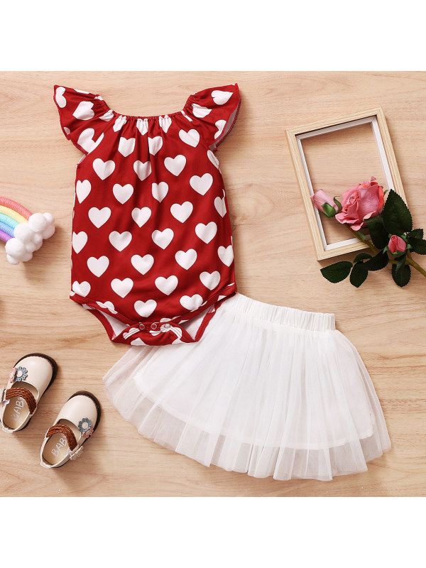 【6M-24M】Cute Heart-shaped Print Red Romper and Skirt Set