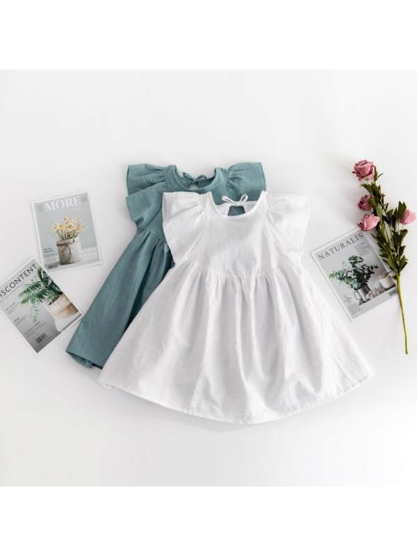 【12M-5Y】Girls Solid Color Flying Sleeve Round Neck Dress