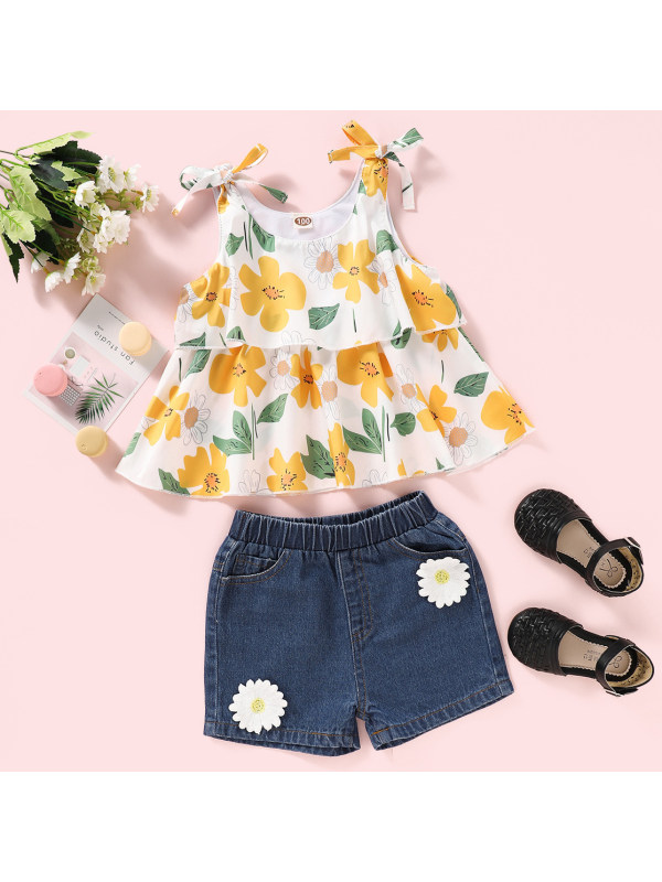 【18M-7Y】Sweet Yellow Floral Print Top and Denim Shorts Set