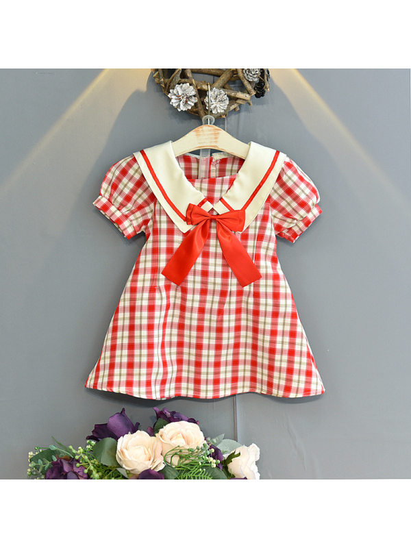 【18M-7Y】Girls Classic Sweet Plaid Stitching Collar Puff Sleeve Dress