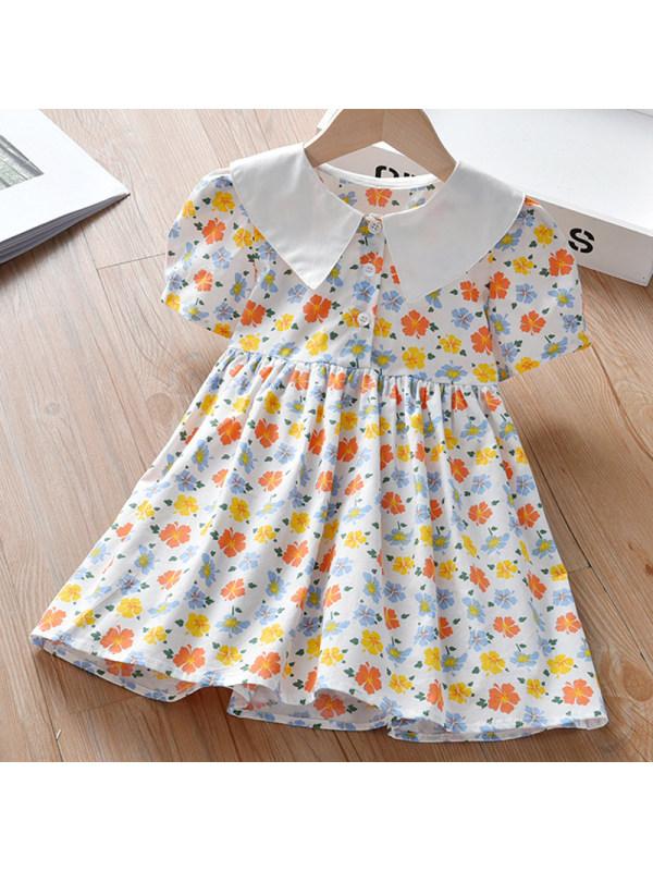 【18M-7Y】Girl Sweet Flower Short Sleeve Dress