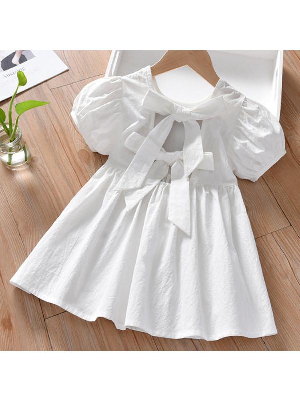 【18M-7Y】Girl Sweet White Short Sleeve Dress - 33122