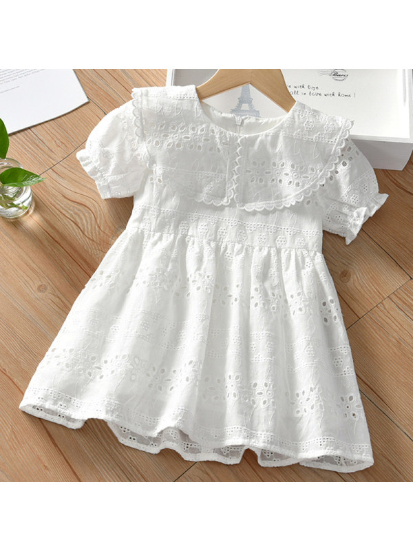 【18M-7Y】Girl Sweet White Lace Short Sleeve Dress
