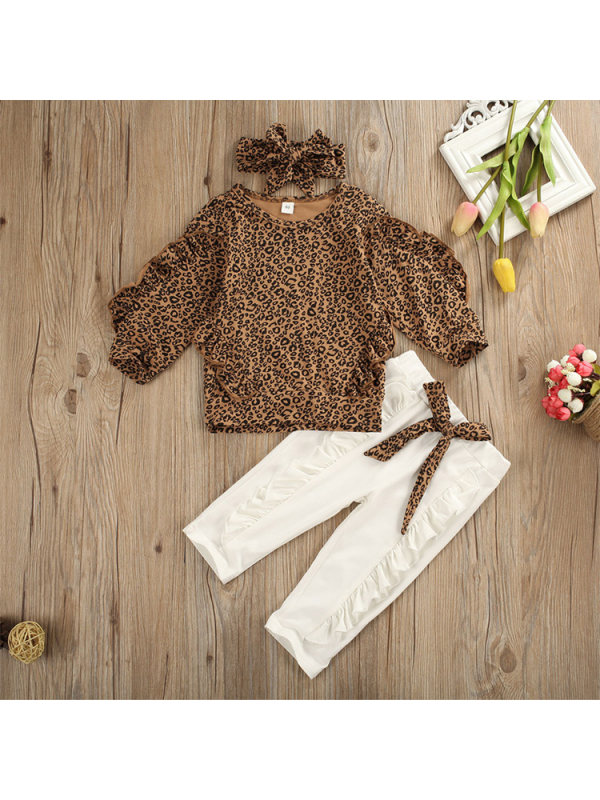 【12M-5Y】Girls Long-sleeved Leopard Print Blouse Solid Color Trousers Suit