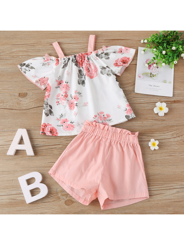【18M-7Y】Sweet Floral Off The Shoulder Top and Pink Shorts Set