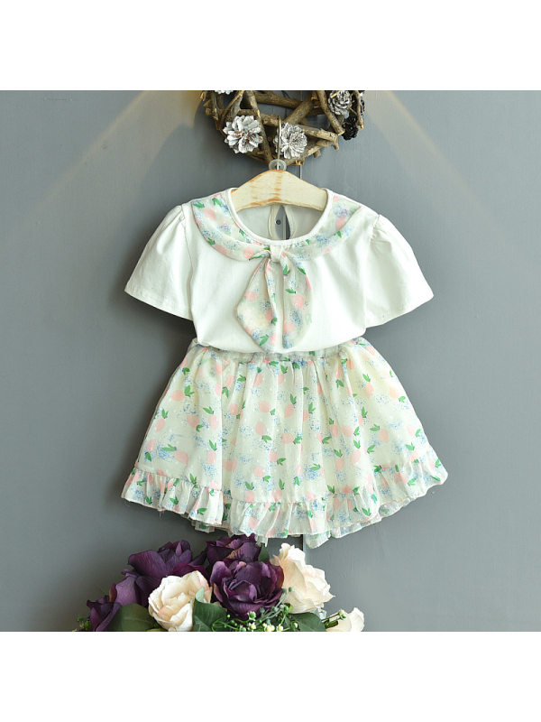 【18M-7Y】Girls Sweet Stitching Collar Short-sleeved Top Skirt Suit