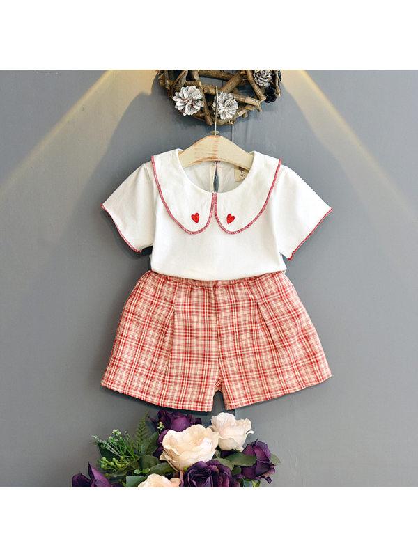 【18M-7Y】Girls Doll Collar Short Sleeve T-shirt Plaid Shorts Set