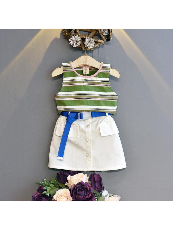 【18M-7Y】Girls Fashion Color Striped Vest Top Short Skirt Set