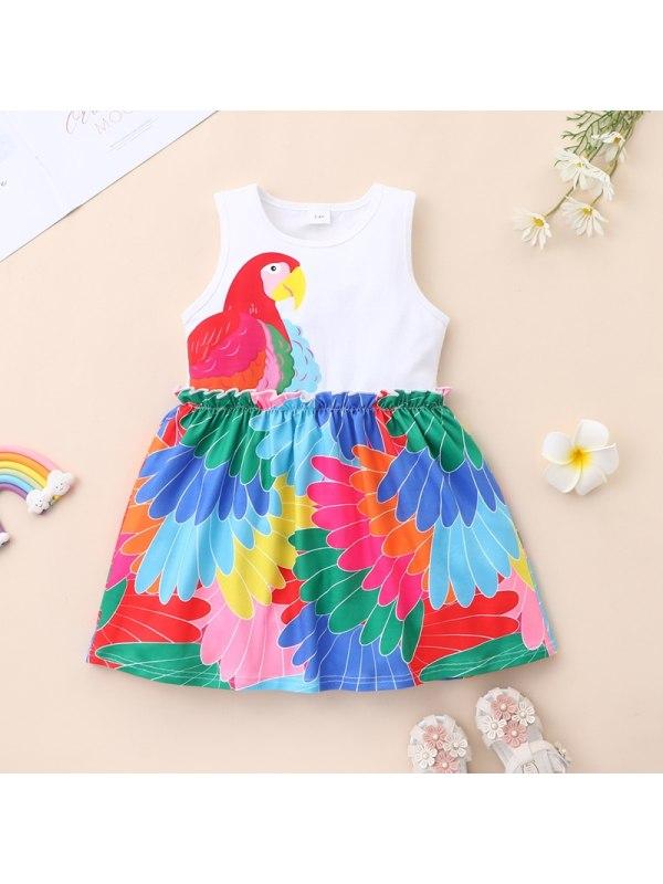 【12M-5Y】Girls Peacock Feather Print Sleeveless Dress