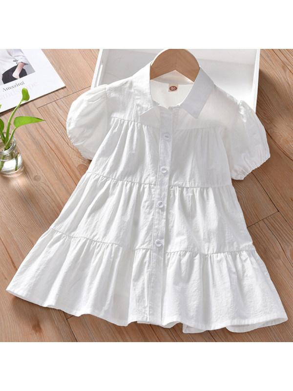 【18M-7Y】Girl Sweet White Short Sleeve Dress - 33123