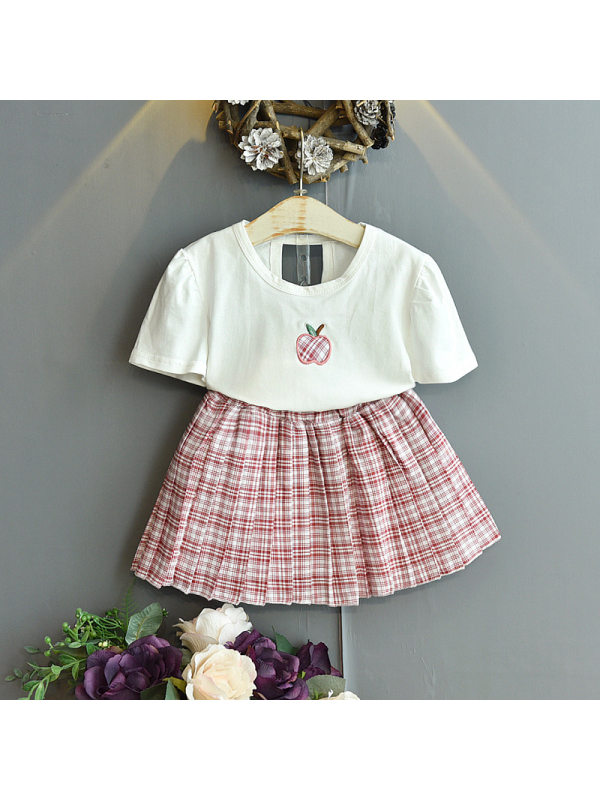 【18M-7Y】Girls Sweet Short-sleeved T-shirt Plaid Pleated Skirt Suit