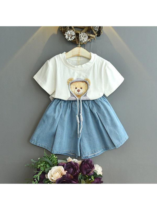 【18M-7Y】Girls Fashion Casual Bear Short-sleeved T-shirt Shorts Suit
