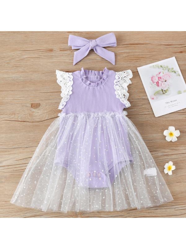 【0M-24M】Cute Lace Sleeve Romper