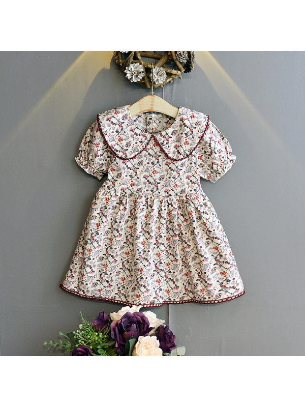 【18M-7Y】Girls Classic Big Lapel Floral Puff Sleeve Dress
