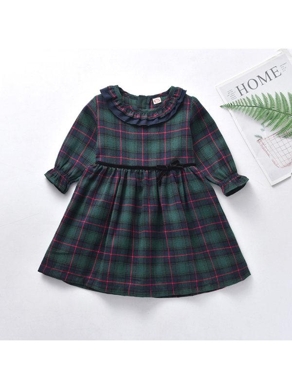 【18M-4Y】Girls Plaid Dark Green Dress