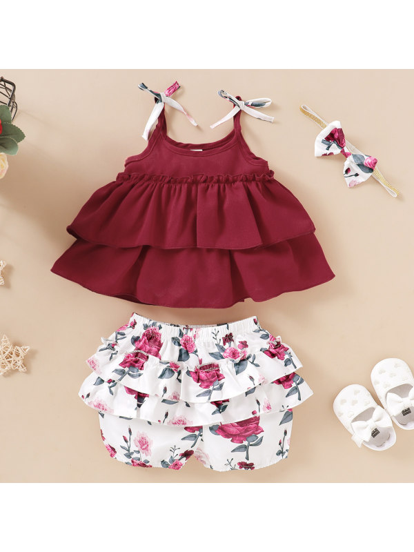 【12M-5Y】Cute Bow Sling Top and Floral Shorts Set