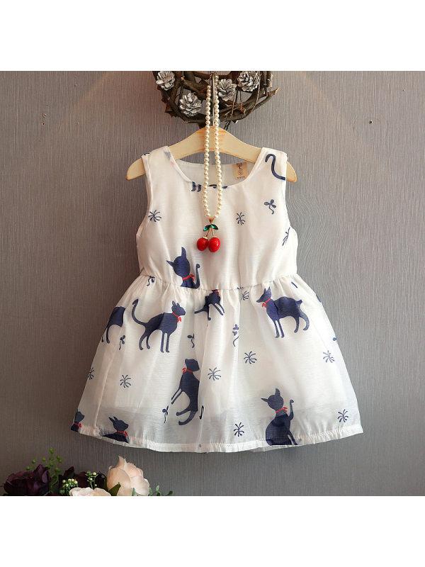 【18M-7Y】Girls Cute Sweet Cat Print Crew Neck Sleeveless Dress