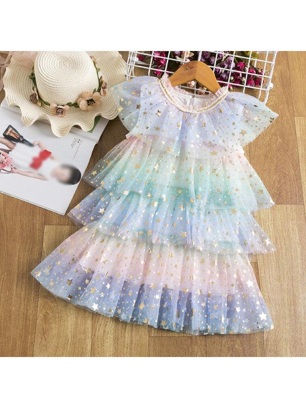 【2Y-9Y】Sweet Golden Star Print Cake Mesh Dress