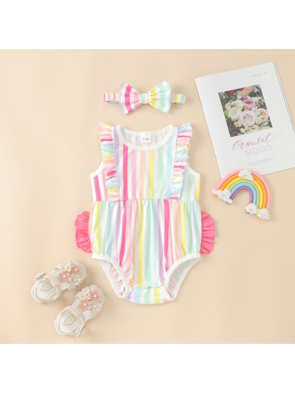 【6M-24M】Baby Summer Flying Sleeve Rainbow Striped Triangle Romper with Hair Band