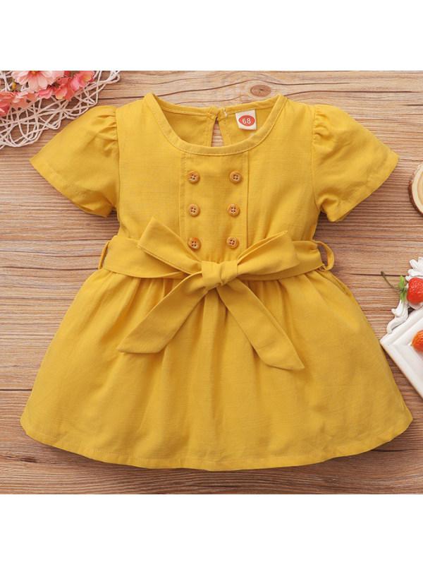 【6M-2.5Y】Cute Round Neck Puff Sleeve Yellow Dress