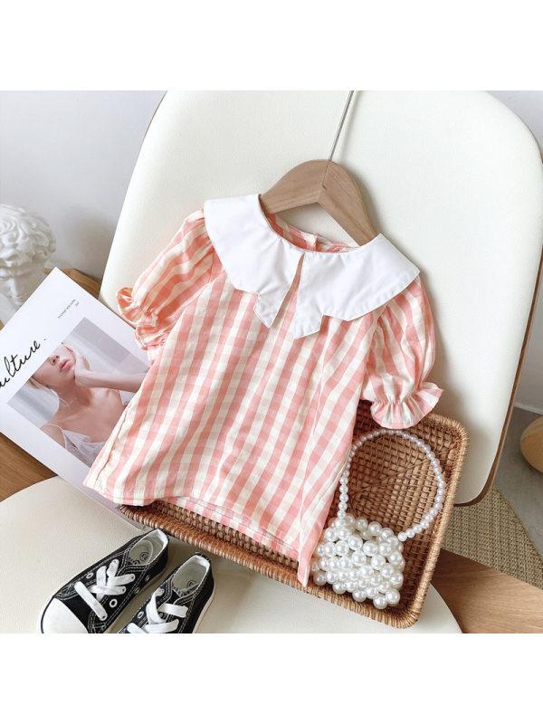 【18M-7Y】Girls Classic Sweet Plaid Lapel Short Sleeve Top