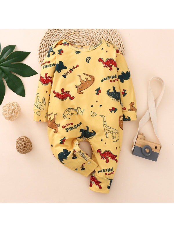 【6M-3Y】Baby Yellow Dinosaur Long-Sleeved One-Piece Romper