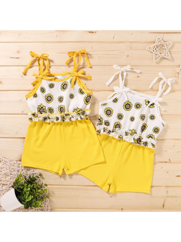 【3M-18M】Baby Flower Print Sling Bodysuit