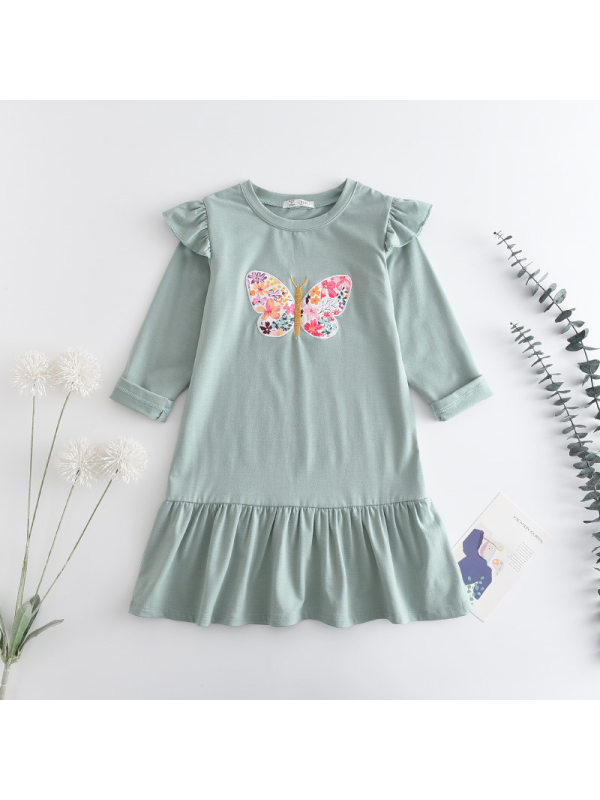 【2Y-9Y】Girls Round Neck Solid Color Butterfly Embroidered Long Sleeve Dress