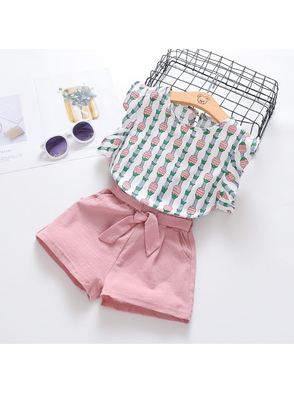 【6M-7Y】Girls Summer Flying Sleeve Shorts Striped Two-Piece Set