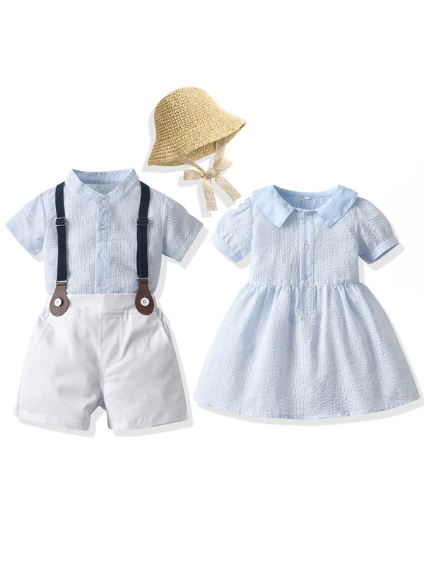 【12M-5Y】Boy And Girl Blue Striped Dress And Set
