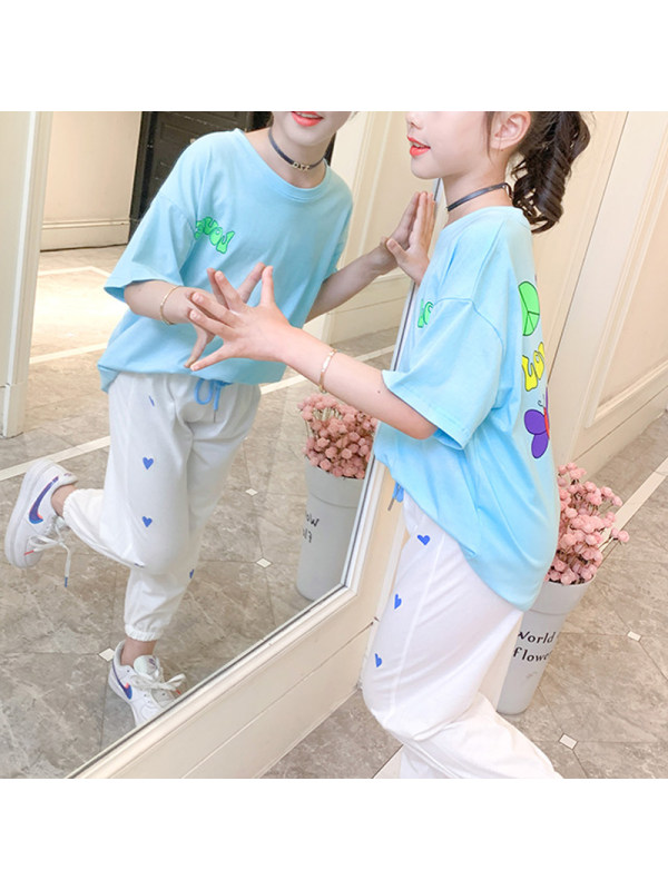 【2Y-13Y】Big Girl's Casual Sports Short-sleeved T-shirt And Trousers Two-piece Suit