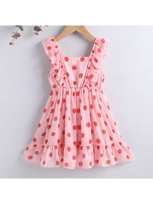 【18M-7Y】Sweet Polka Dot Print Ruffle Pink Dress
