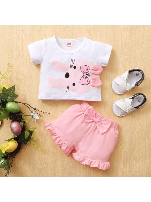 【6M-2.5Y】Cute Bow Cartoon Rabbit Print T-shirt and Pink Shorts Set