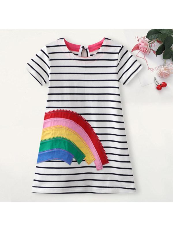 【18M-7Y】Girl Sweet Rainbow Embroidered Short Sleeve Dress