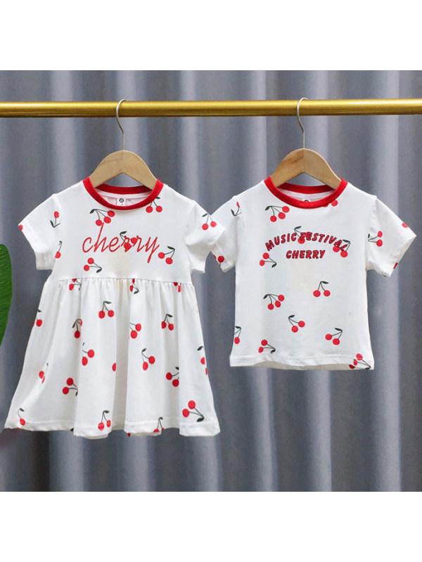 【18M-7Y】Girl Boy Cherry Pattern Dress and T-shirt