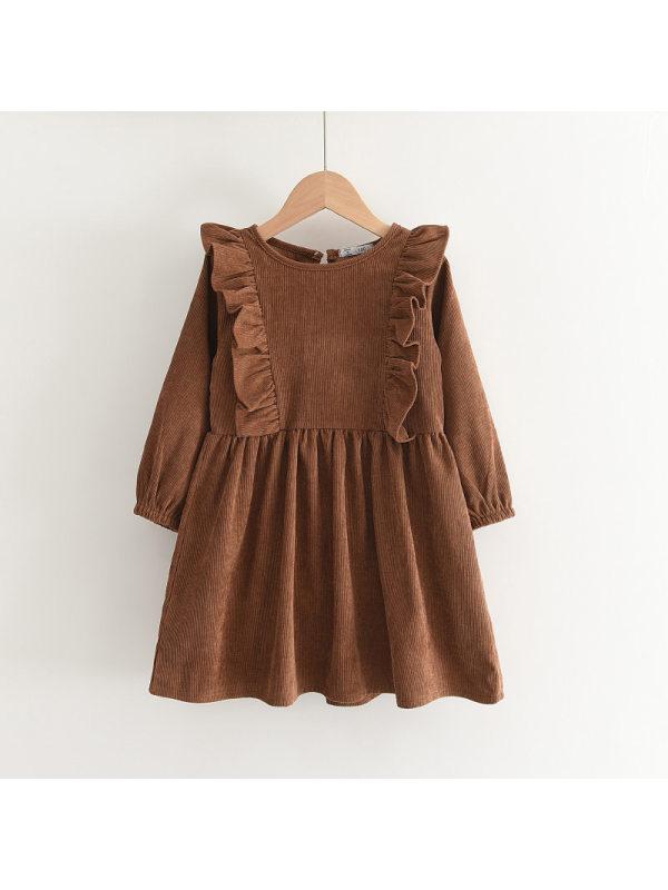 【2Y-9Y】Girls Long-sleeved Solid Color Dress
