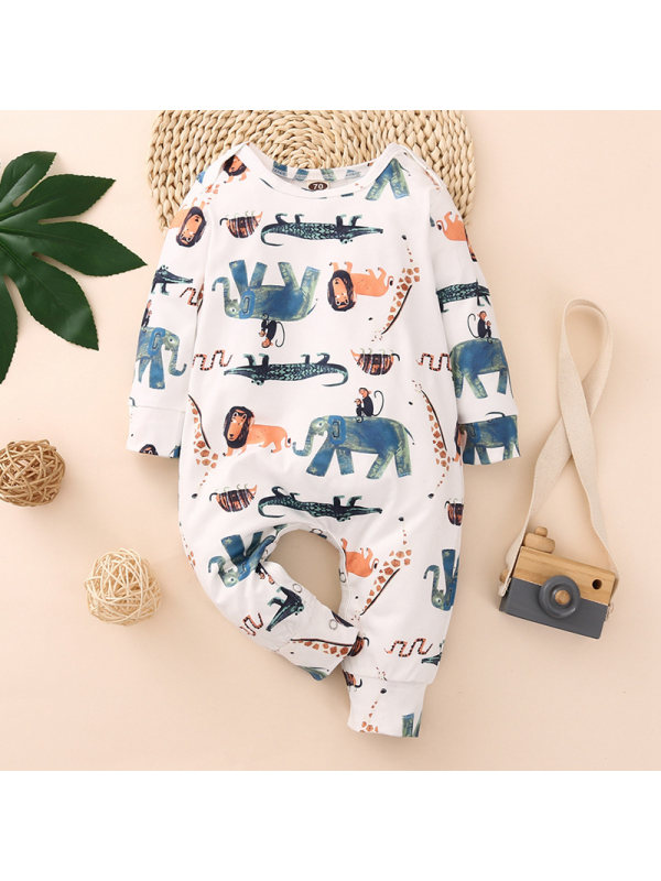【6M-3Y】Baby Elephant Long-Sleeved One-Piece Romper