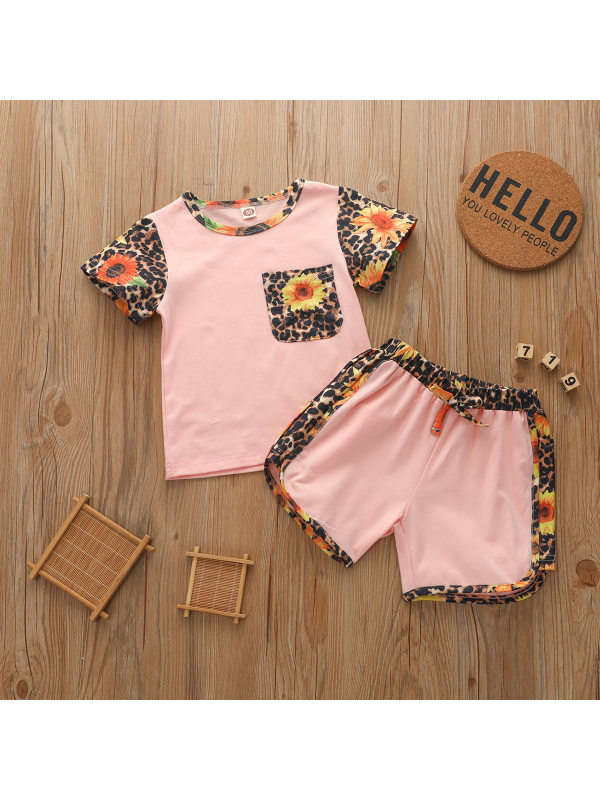 【12M-5Y】Girls Round Neck Short-sleeved Top with Shorts Two-piece Suit