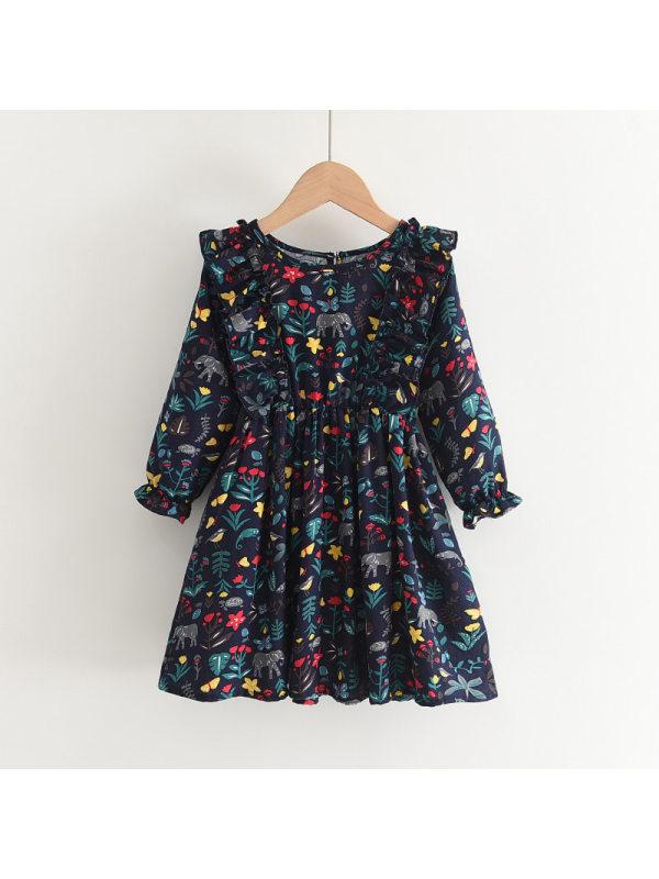 【2Y-9Y】Girls Long Sleeve Round Neck Floral Print Dress