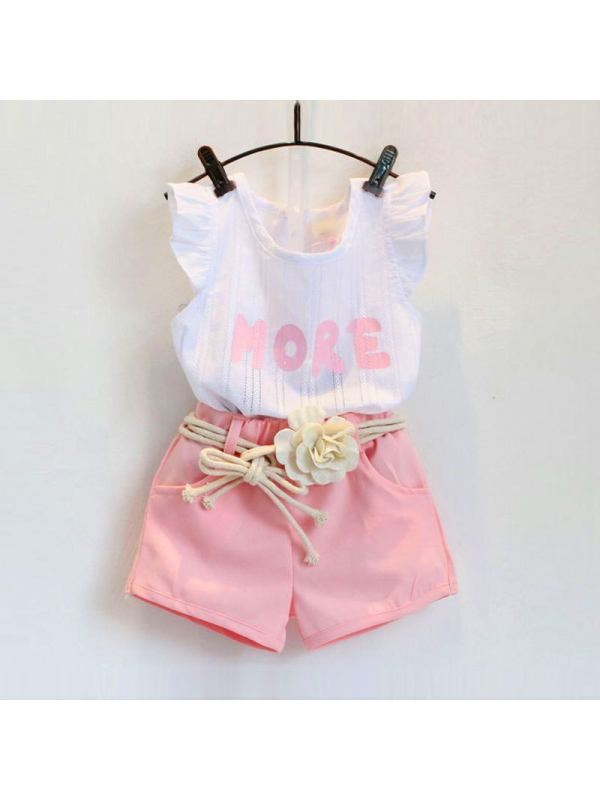 【18M-7Y】Girls Jacquard Short-Sleeved Top and Shorts Two-Piece Suit
