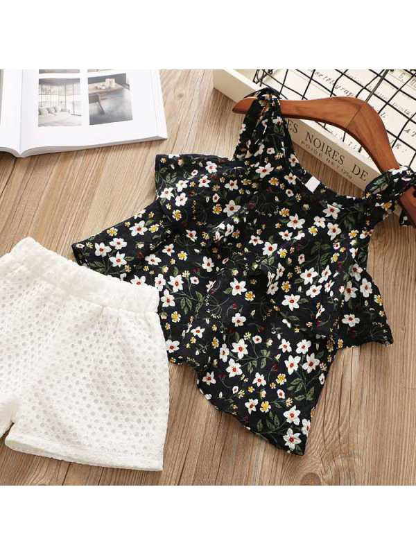 【2Y-9Y】Girls Chiffon Floral Camisole Shorts Two-Piece Suit