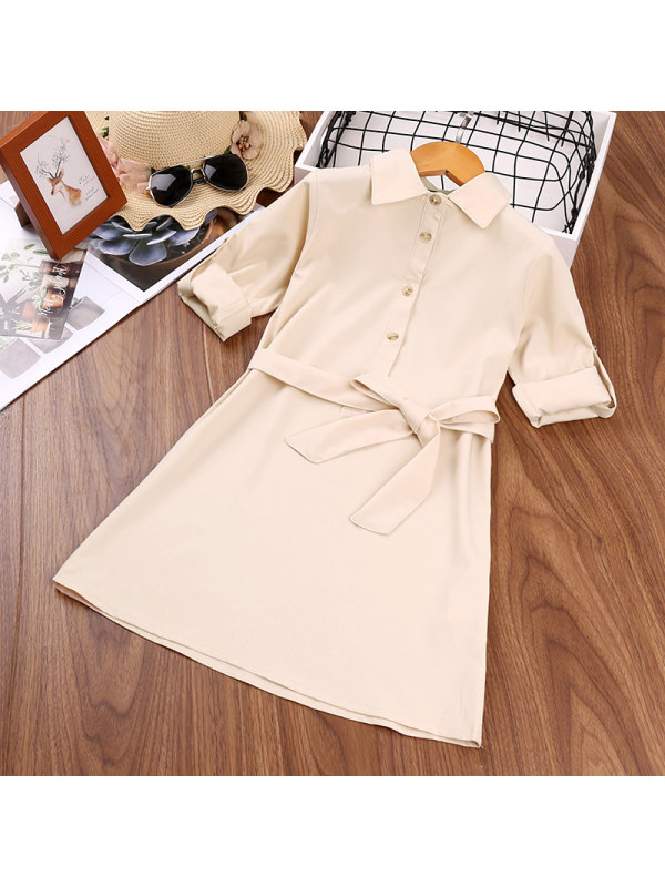 【3Y-13Y】Girl Solid Color Belt Lace Middle Sleeve Dress