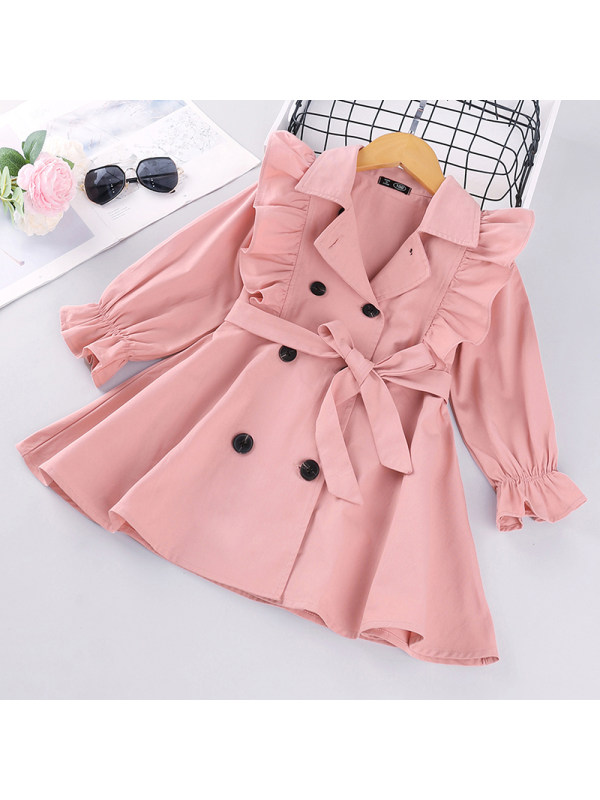 【18M-7Y】Girls Solid Color Double-Breasted Windbreaker
