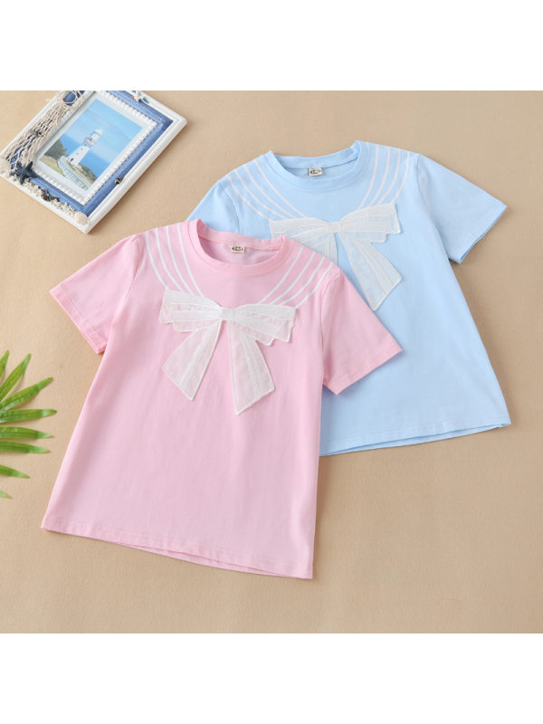 【3Y-13Y】Girls Cotton Short-Sleeved Bow T-shirt
